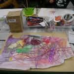 2012年1月25日(水) 「まる・しかくで色がいっぱい!!+透明スライムづくり」YUTA,AI,REI