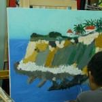 2014年9月9日(火)油絵「海岸の風景」アートクラス「キャベツのデッサン」