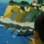 2014年9月16日(火)油絵「海岸の風景」