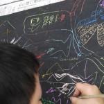 2017年3月24日(金)「クレヨンスクラッチで描こう」「動物の切り絵」