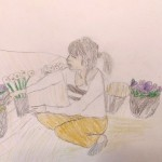 R.Yくん「花の手入れをするお母さん」