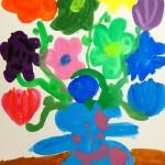 筆で描くオリジナル花瓶と花
